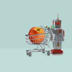 tin-robot-and-supermarket-trolley-and-apple-owen-smith