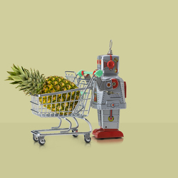 tin-robot-with-supermarket-trolley-and-pineapple-owen-smith