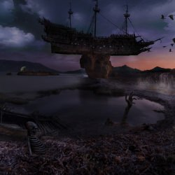 island_animals_boat_sea_seascape__130783