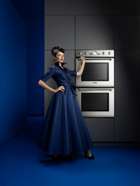 Photograph Stan Musilek Woman In Blue Dress With Sleek Oven on One Eyeland
