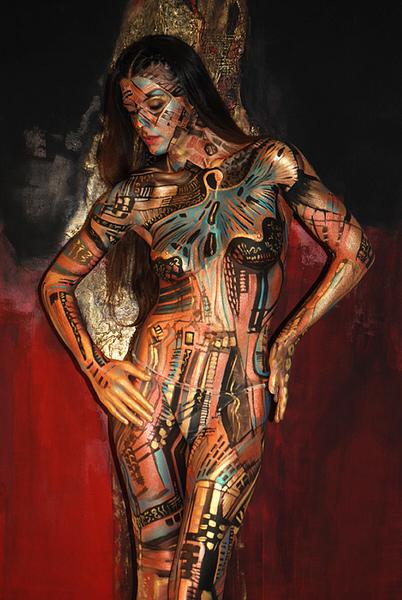 Photograph Guido Daniele Body Painting N Memory Of Luciana Matalon On One Eyeland