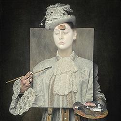 A mistery white face young girl-Carola Kayen Mouthaan-bronze-FINE ART-Portrait -3179