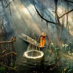Mangrovenfischer 2-Chin Leong Teo-Silber-MENSCHEN-Lebensstil -5728