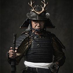 Nachkommen von Samurai-Ryotaro Horiuchi-Gold-FINE ART-Portrait -5668