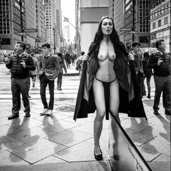 Nude in public of New York City - mirror-Kristian Liebrand-silver-black_and_white-4529