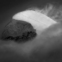 As the strong winds hit the summit-Peter Svoboda-gold-black_and_white-4512