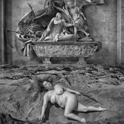 The Angel and the Grim Reaper-Tom Gore-silver-black_and_white-6612