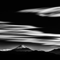A planet with Mt Fuji-Takashi-silver-black_and_white-6601