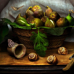 Still Life with Figs and snails-Christian Marcel-bronze-still_life-5474